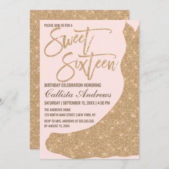 Sparkly Pink Gold Glitter Dress Sweet 16