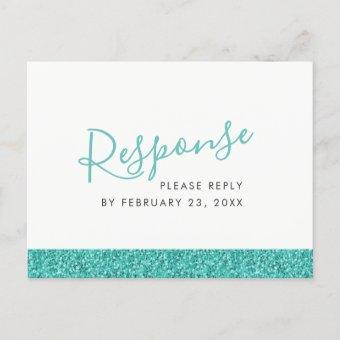 Sparkly Teal Blue RSVP Response POST
