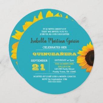 Sunflower Turquoise Round Quinceañera