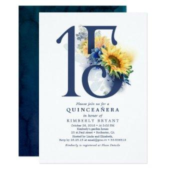 Sunflowers Navy Blue Floral Elegant