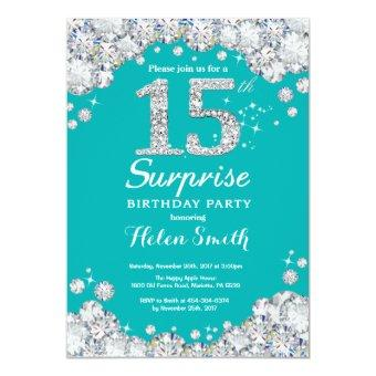 Surprise 15th Birthday Teal and Silver Diamond