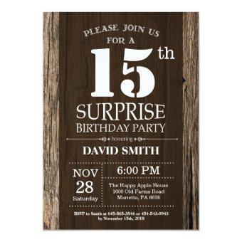 Surprise Rustic 15th Birthday Vintage