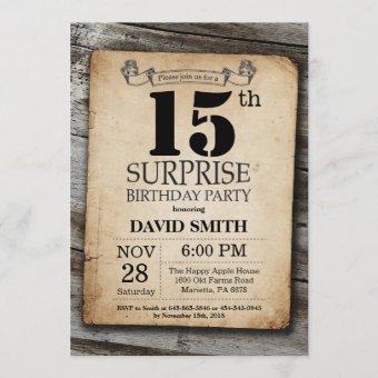 Surprise Rustic 15th Birthday Vintage