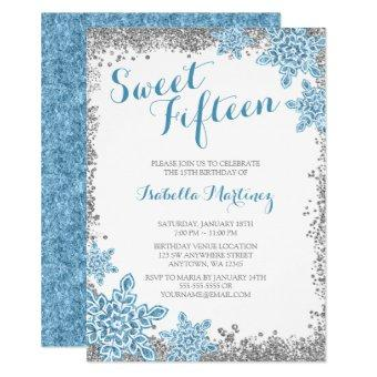 Sweet 15 Glam Winter Wonderland Silver Blue Invite