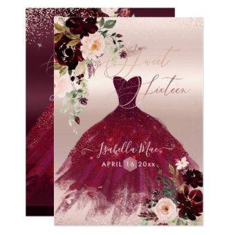 Sweet 16 Blush Burgundy Watercolor Flowers