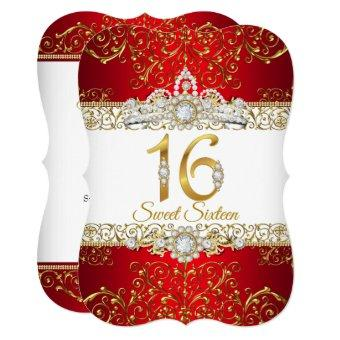 Sweet 16 Gold Diamond Red Glamour Birthday