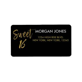 Sweet 16 Gold Foil Birthday Address Label