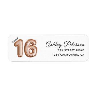 Sweet 16 Luxury Rose gold Balloons Label