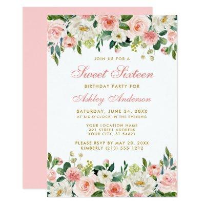 Sweet Sixteen Pink Blush Floral Gold