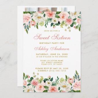 Sweet Sixteen Pink Blush Floral Gold Photo