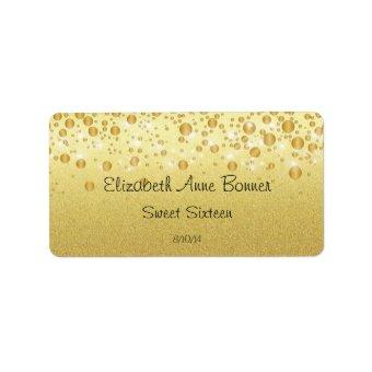 Sweet Sixteen, Sparkle, Gold Glitter, Water Bottle Label