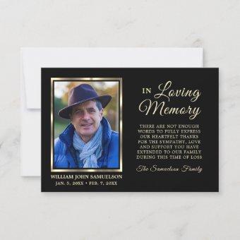 Sympathy Funeral Memory THANK YOU Photo Black Gold