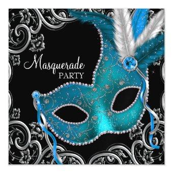 Teal Blue Black Masquerade Party Magnetic