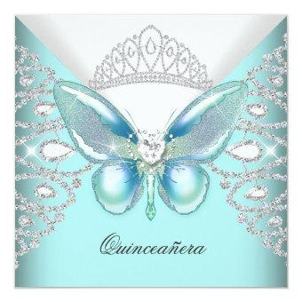 Teal Blue Butterfly Tiara 15th Party