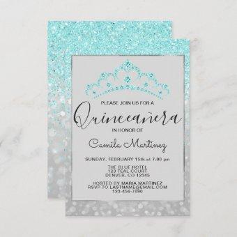 Teal Blue Girly Glitter Sparkle