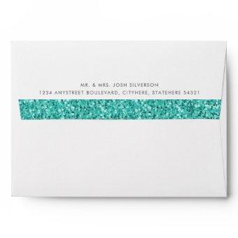 Teal Blue Glitter Inside Return Address Envelope