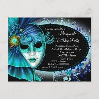 Teal Blue Midnight Masquerade Party