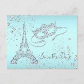 Teal Blue Paris Masquerade Party Save The Date Announcement Post