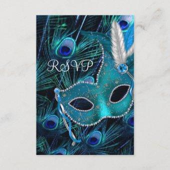 Teal Blue Peacock Masquerade Party RSVP