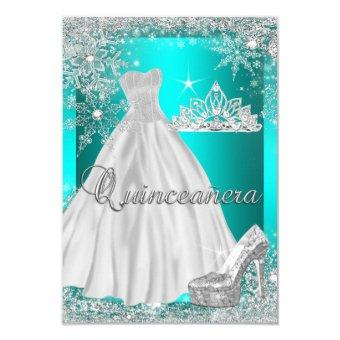 Teal Blue Quinceanera 15th Birthday Party Invitations