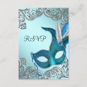 Teal Blue Silver Mask Masquerade Party RSVP