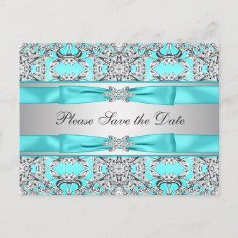 Teal Blue Silver Save The Date Announcement Post