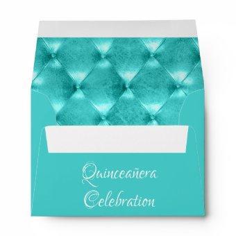 Teal Blue Tiara Quinceañera Celebration Envelope