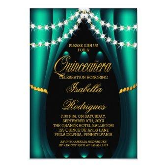 Teal Curtains Stage Bling Diamond Glam