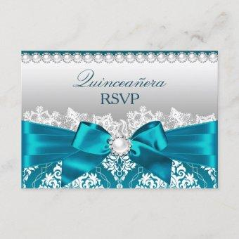 Teal Damask Pearl Bow RSVP