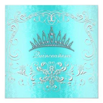 Teal Damask Diamond Tiara Invite
