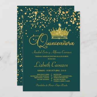 Teal Gold Confetti Crown Spanish