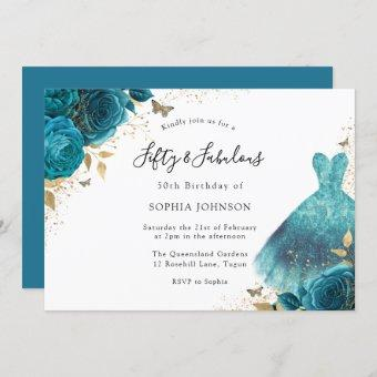 Teal & Gold Sparkle Dress Rose 50th Birthday Party