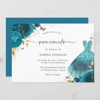 Teal & Gold Sparkle Dress Rose Party