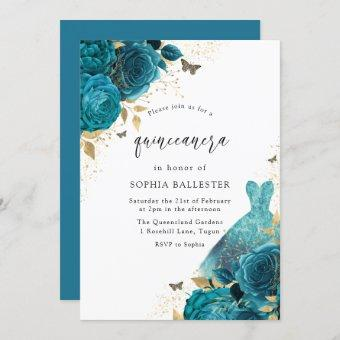 Teal & Gold Sparkle Dress Roses Party