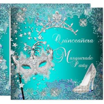 Teal Masquerade 15th Party Tiara Shoe