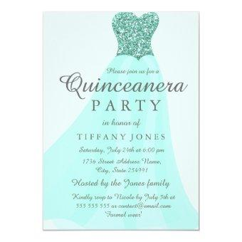 Teal Mint Sparkling Glitter Gown Party