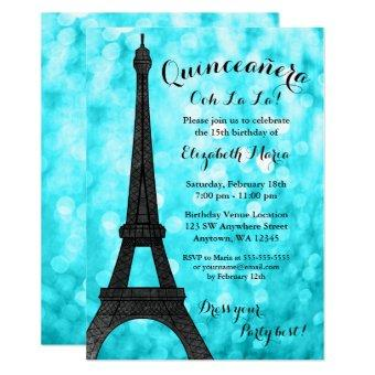 Teal Paris Bokeh Glitter Lights Quinceañera