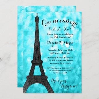 Teal Paris Bokeh Glitter Lights Quinceañera