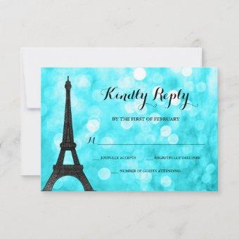 Teal Paris Bokeh Glitter Lights RSVP Card