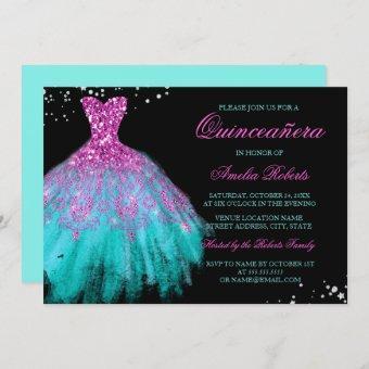 Teal Pink Sparkle Dress