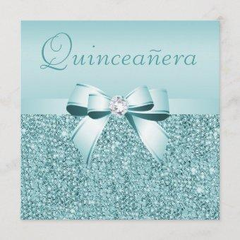 Teal Printed Sequins & Bow