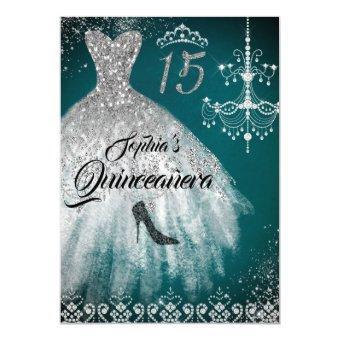 Teal Silver Sparkle Diamond Dress
