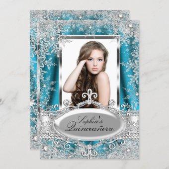 Teal Silver Sparkle Jewel Snowflake