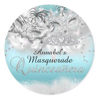 Teal Silver Sparkle Masquerade Sticker