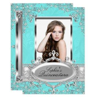 Teal Silver Vintage Glamour Photo