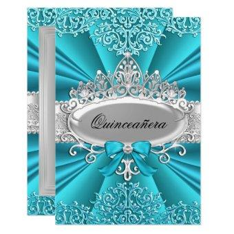 Teal Tiara Damask party Invite