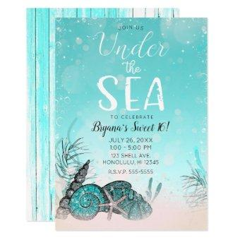 Teal Under the Sea Shells Beach Sweet 16 Party