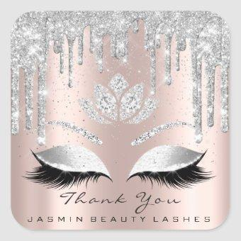 Thank You Beauty Lashes Bridal Gray Rose Glitter Square Sticker