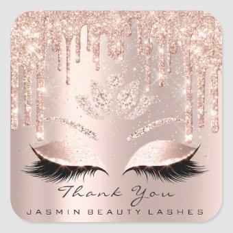 Thank You Beauty Lashes Lotus Bridal Rose Glitter Square Sticker