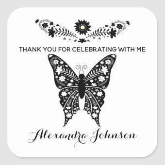 Thank You, Butterfly Black and White Girl Birthday Square Sticker